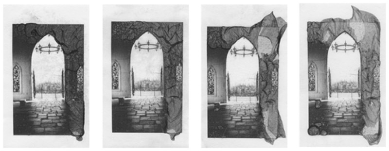 These images show the results of varying how long a print was submerged in the Mordançage solution. (a) 1 minute, (b) 4 minutes, (c) 8 minutes and (d) 60 minutes.