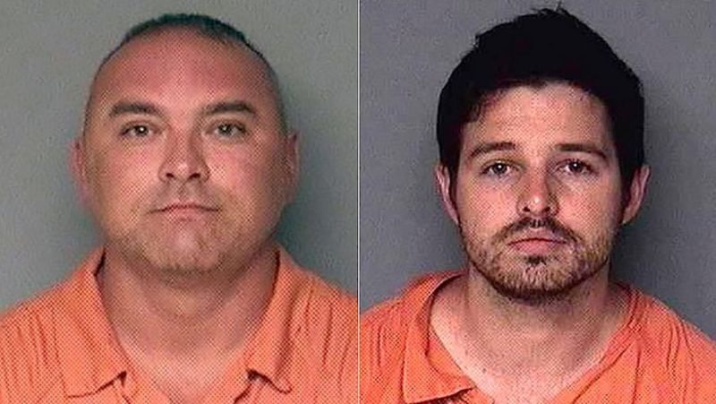 Mug shots of Gary De Mercurio, left, and Justin Wynn.