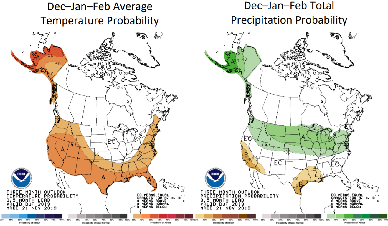 A winter outlook weather outlook. Colors indicate probabilities of above/below average temperatures and precipitation for the season.