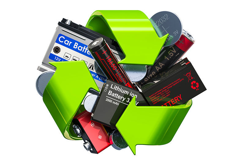 Image of batteries superimposed on a recycling graphic.