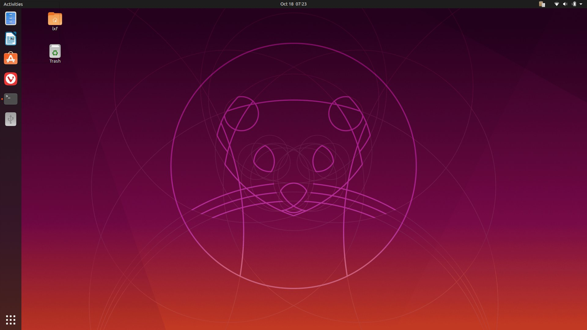 The default GNOME desktop in Ubuntu 19.10.