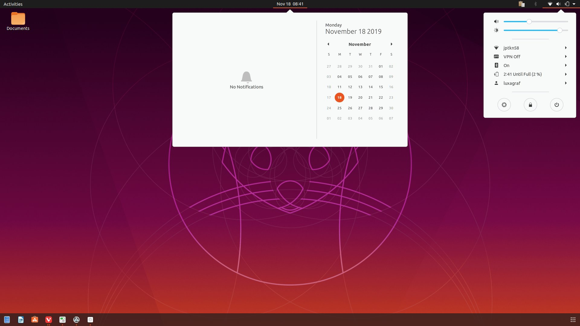 The new lighter look for Ubuntu's Yaro theme in 19.10 (this is a composite screenshot).