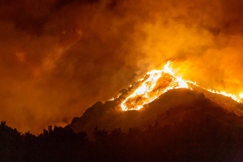 SOMIS, CA - NOVEMBER 01: The Maria Fire burns on a hillside as it expands up to 8,000 acres on its first night on November 1, 2019 near Somis, California. Southern California has been hit by a series of dangerous, fast-moving wildfires this week as Santa Ana Winds ushered in strong gusts up to 80mph and extremely low humidity.  (Photo by David McNew/Getty Images)