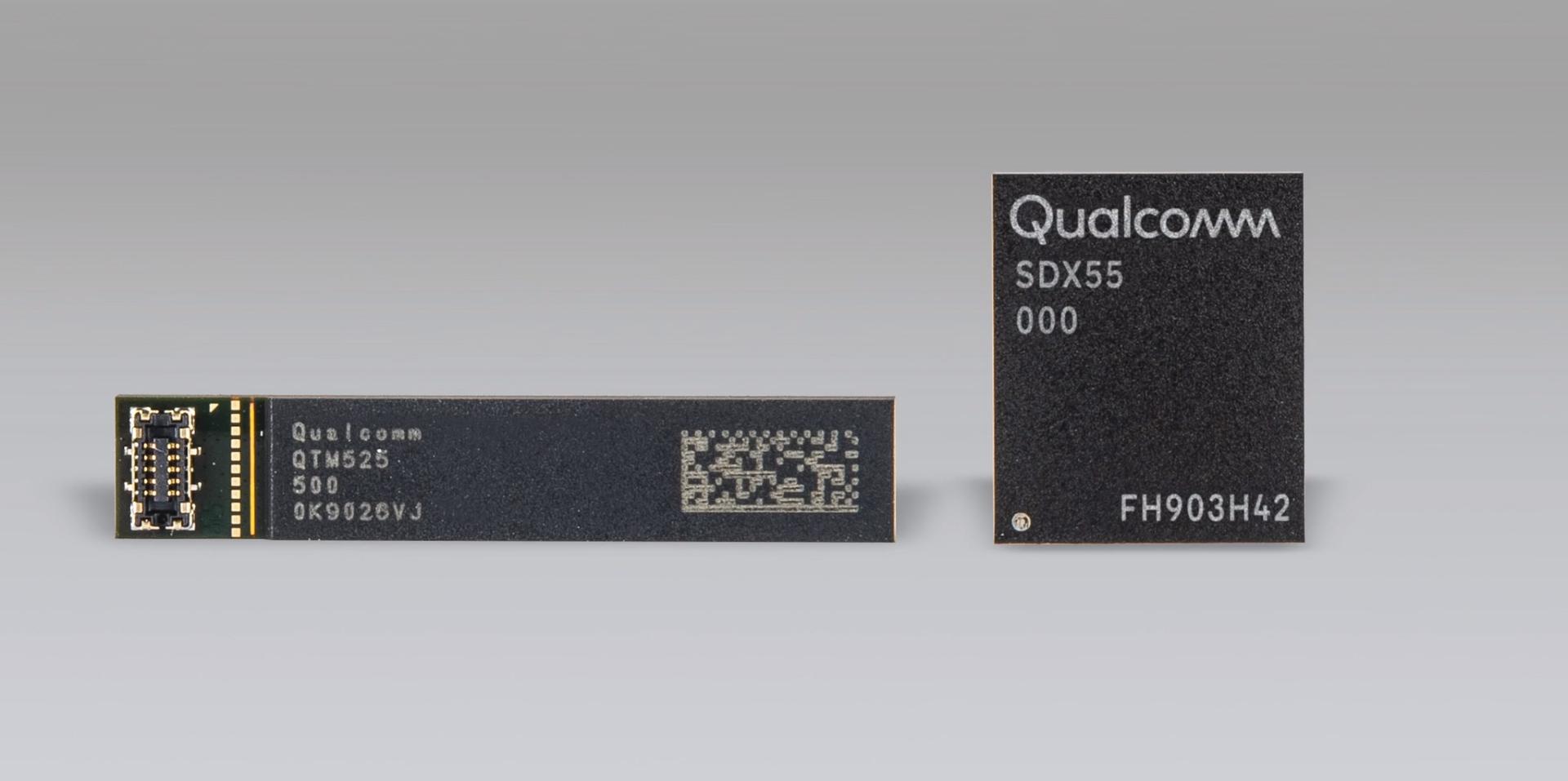 Qualcomm's new QTM525 5G mmWave antenna module and Snapdragon X55 5G modem.