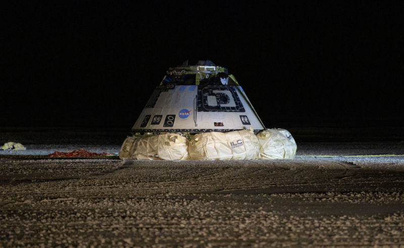 The Boeing CST-100 Starliner spacecraft is seen after it landed in White Sands, New Mexico, Sunday, Dec. 22, 2019.