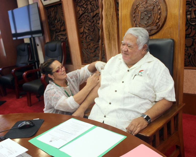 Prime Minister Tuilaepa Sailele Malielegaoi receiving a measles vaccine to support the Mass Vaccination Drive