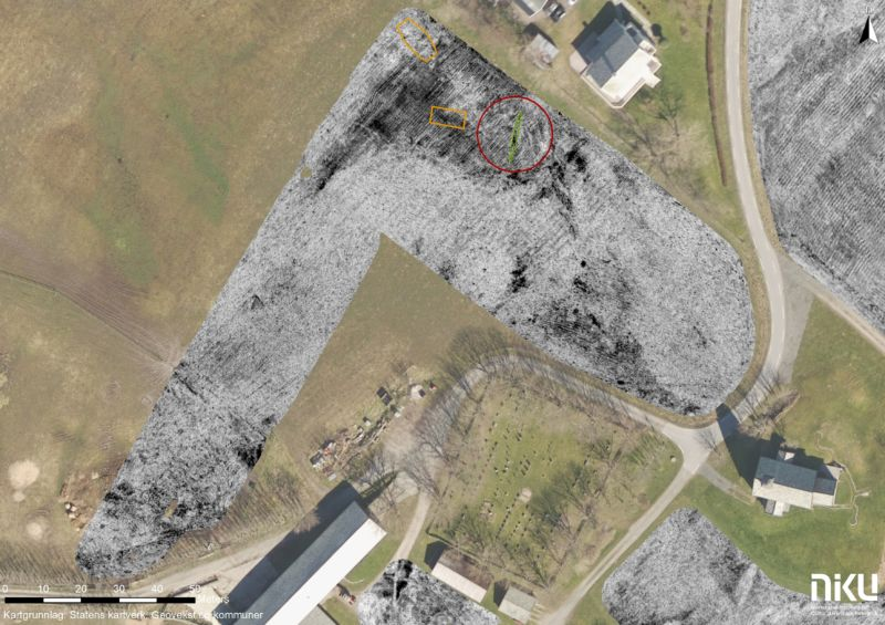 Aerial photograph of archaeological site.