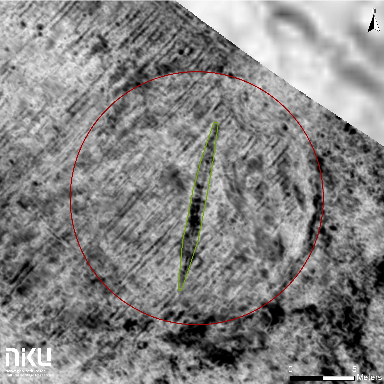This aerial radar image shows the buried ship, surrounded by traces of a ditch.