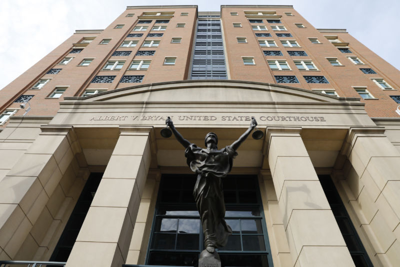 The Blind Justice statue standing outside of District Court in Alexandria, Virginia, US, on Thursday, Aug. 16, 2018.