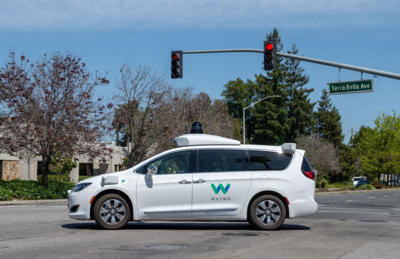A self-driving car driving itself