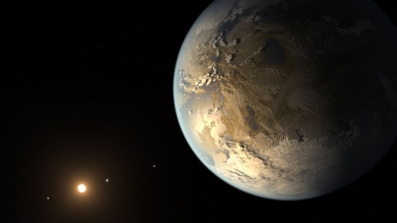 "Artist conception of Kepler-186f, the first Earth-size exoplanet found in a star's ""habitable zone."""