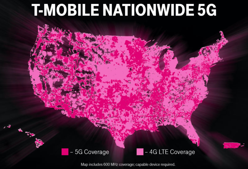 T-Mobile's coverage map shows that huge parts of the US are covered by 4G but not 5G.
