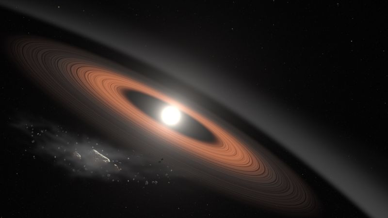White dwarf star covering itself with the atmosphere of a hot Neptune