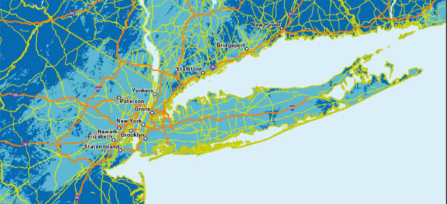 AT&T's map shows heavy 5G coverage (in cyan) over New York as well.
