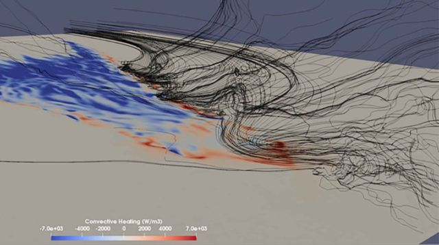 Computer simulation showing stream traces of winds reaching the left flank and head of a fire spreading up a steep slope.