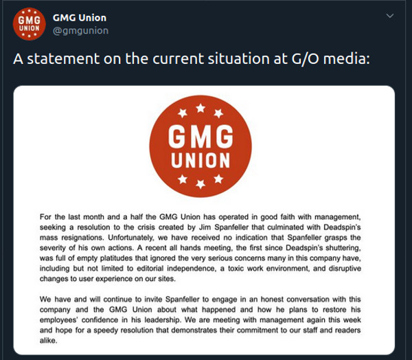 A post from GMG Union, the union representing employees of the former Gizmodo Media Group (now G/O Media). Things are a little tense.
