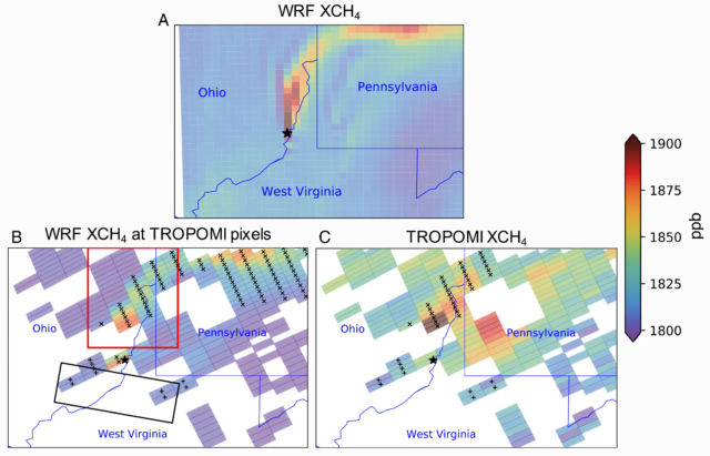 The top image shows a simulation of methane concentrations downwind of the well, while bottom right shows the measurements made by the Sentinel-5P satellite. Bottom left overlays the simulation on those same grid cells for an apples-to-apples comparison.