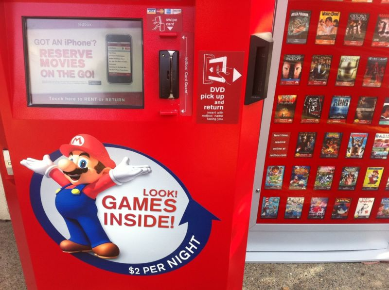 Amateur photograph of a Redbox rental station.