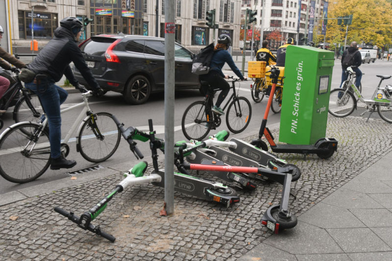 An example of electric scooters left in Berlin city on Thursday, November 7, 2019, in Berlin, Germany.
