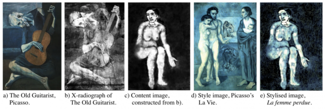 Visual method of reconstructing the art beneath Picasso's <em>The Old Guitarist</em>.