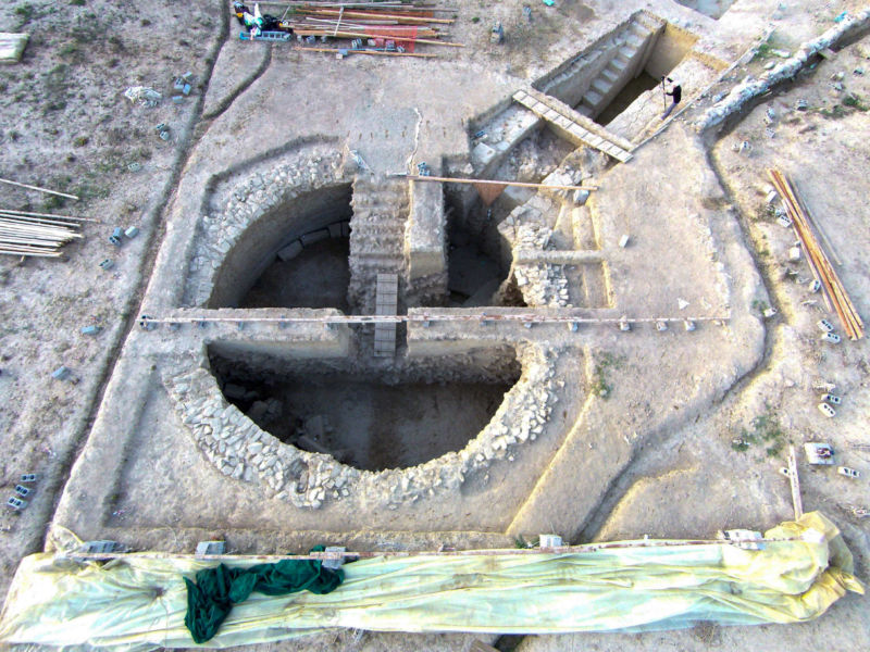 Color aerial photo of excavated Greek tomb.