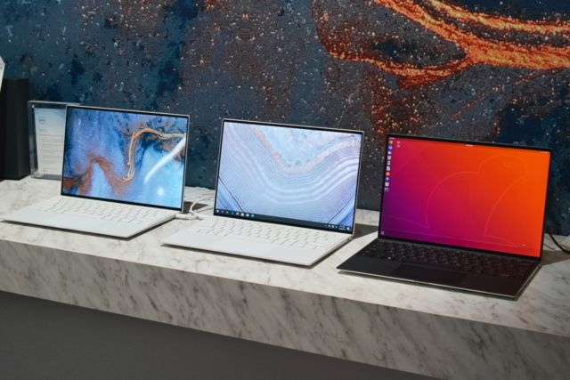 Dell's 2020 CES lineup: two of the new XPS 13 laptops next to the new XPS 13 Developer Edition laptop (in black).