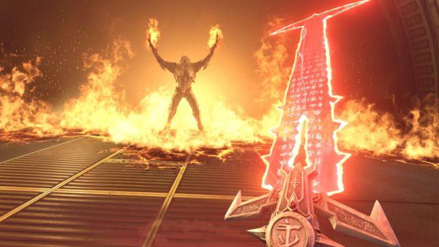 The frenetic first-person shooter <em>Doom Eternal</em>.