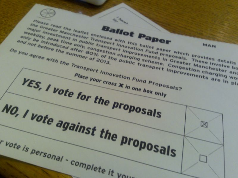 Closeup photograph of a ballot from a 2013 proposal.