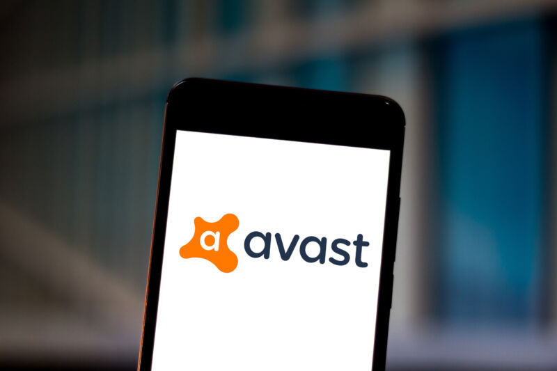 An Avast Antivirus logo displayed on a smartphone.