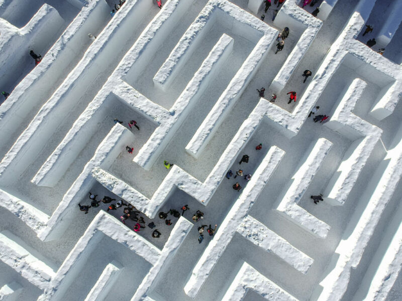 Aerial photograph of large outdoor maze.