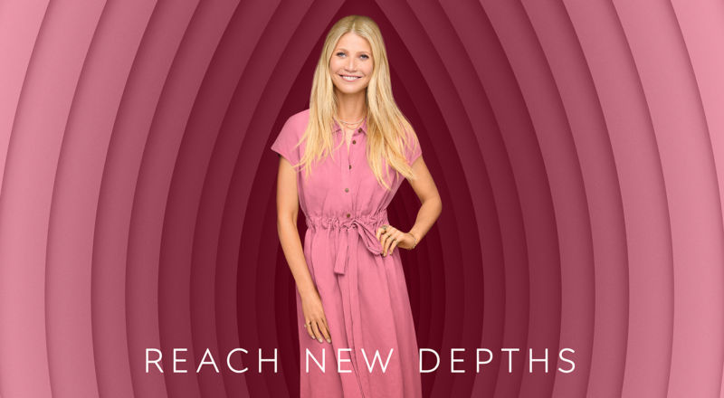 Promotional image of Oscar-winner Gwyneth Paltrow emerging from a stylized image of the female genital anatomy.