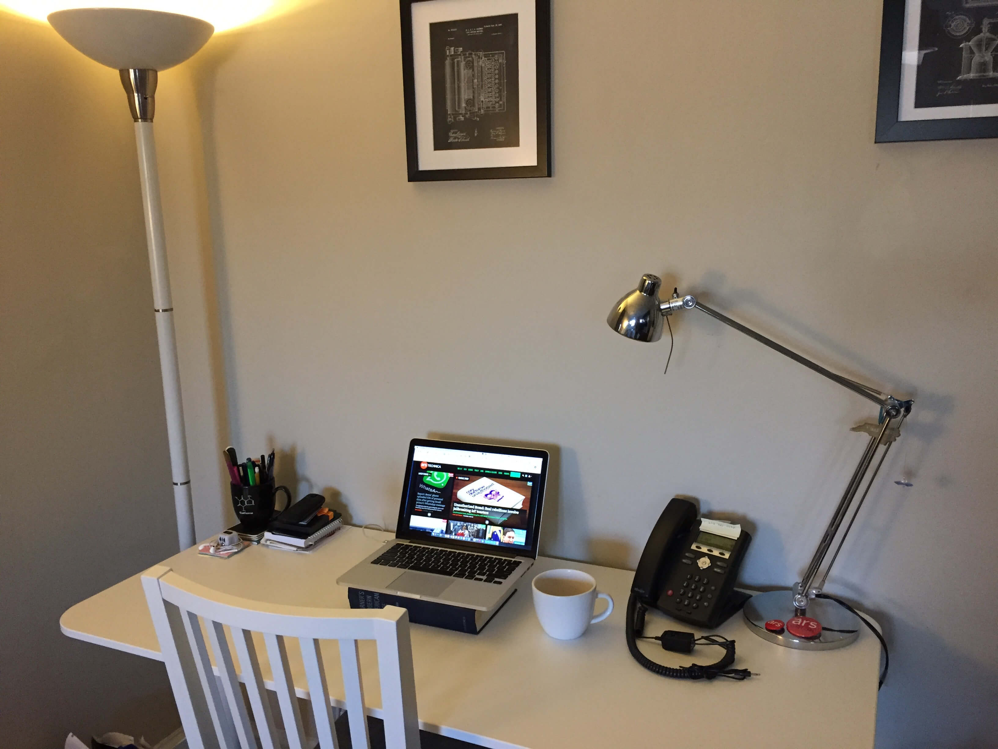 A wider shot of Beth Mole's home office. Beth loves lamp.
