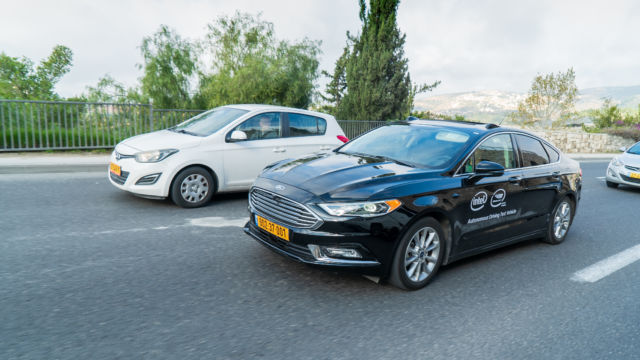 A Mobileye self-driving car in Israel.