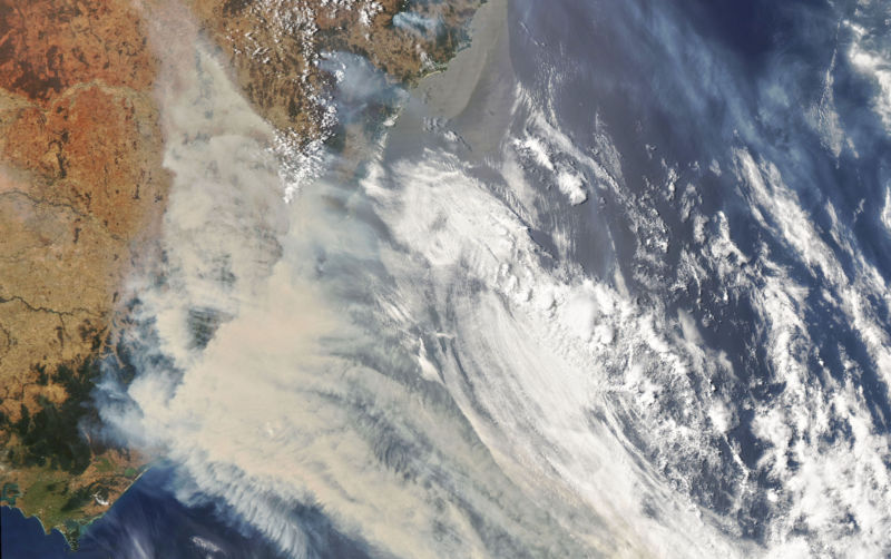 Satellite photo of smoke over Australia.