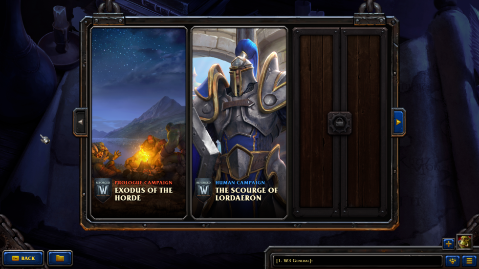 That locked icon means you can't access later-game missions without beating everything in order. This includes everything from the <em>Frozen Throne</em> expansion pack, as well. It's a relatively tough pill to swallow for a 17-year-old game.