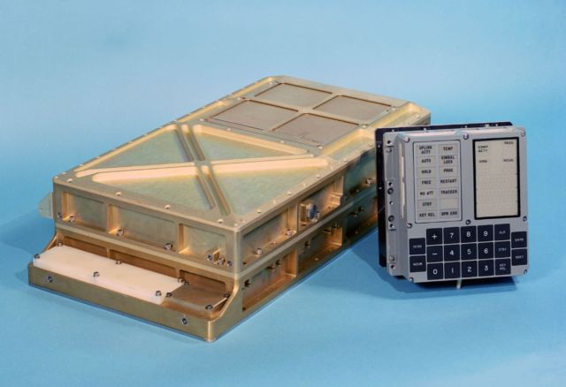 An Apollo Guidance Computer (left), with DSKY module (right). For reference, the AGC pictured here measures 61×32×17 cm.