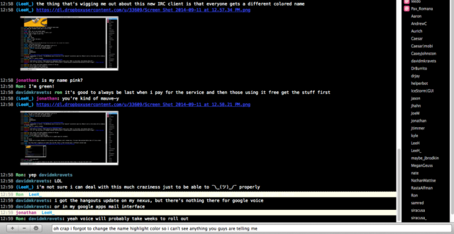 Test-driving a Web-based IRC client with the Ars staff channel, circa 2014.