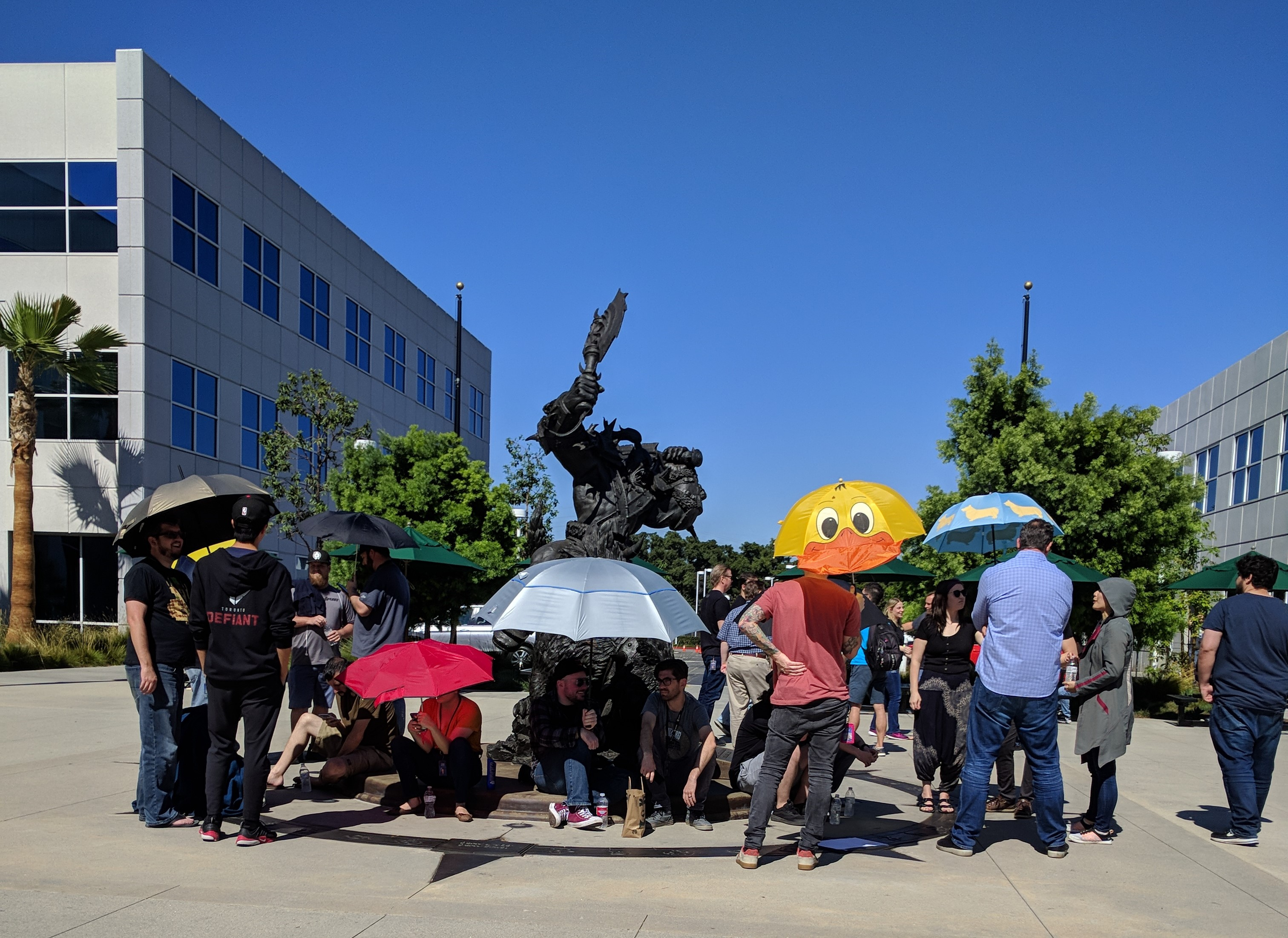 Blizzard employees participating in a walkout to protest the company's Hong Kong protest policies last year.