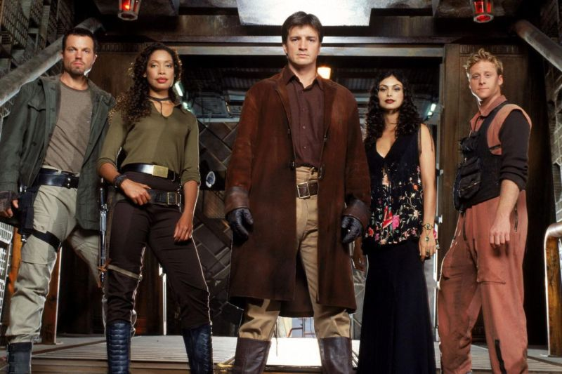 Promotional cast image of TV show Firefly.