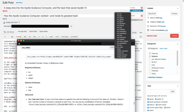 A screenshot of the CMS composer window for an upcoming story. This is what your favorite Ars authors are looking at when they write stuff. I've positioned the floating custom tag help menu to obscure the text because <em>no peeking!</em> (If you're excited by this story's headline, just wait a couple of days—it's running later this week.)