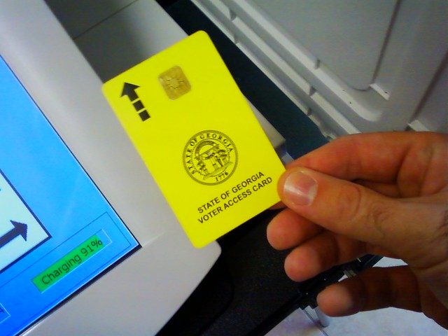 Closeup photograph of a Georgia voter access card.