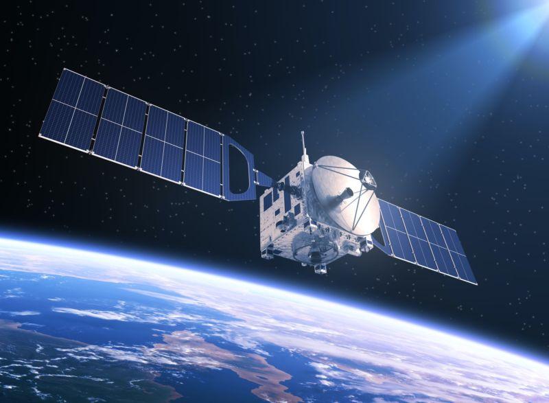 Illustration of a satellite orbiting Earth.