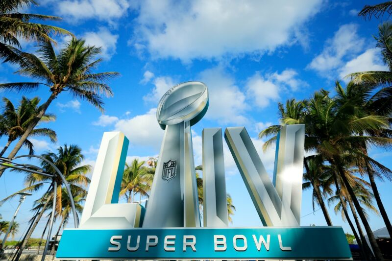 A sign that says Super Bowl 54 outdoors in Miami.