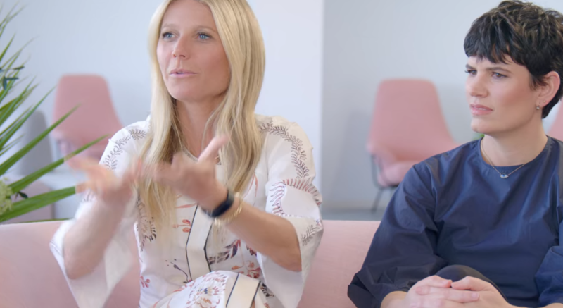 "This is the exact moment in <em>the goop lab</em>'s third episode in which Gwyneth Paltrow admits she doesn't know the difference between a vagina and a vulva. She's making a hand gesture to say what she thought the ""vagina"" was."