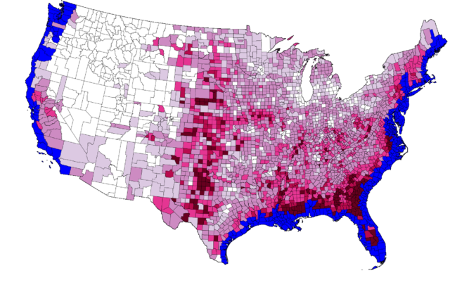 Blue colors represent counties that will lose land to the ocean. Red/purple colors represent counties that will see increased migration, with the shade proportional to the increase.