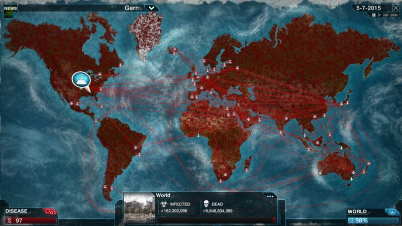 A scene from <em>Plague Inc.</em> that should <em>not</em> serve as a model for the spread of coronavirus.