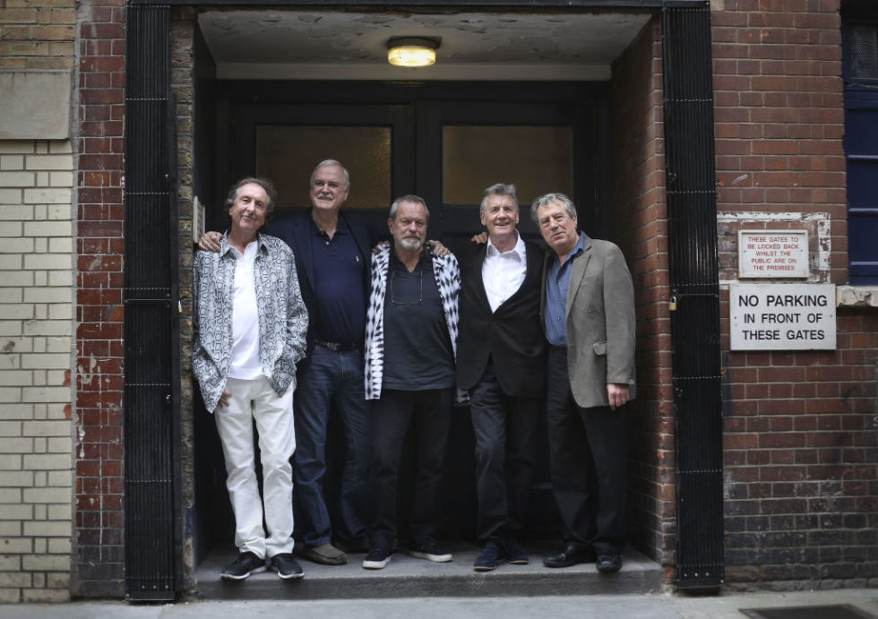 Eric Idle, John Cleese, Terry Gilliam, Michael Palin, and Terry Jones from Monty Python in 2014 before a series of live performances in London.