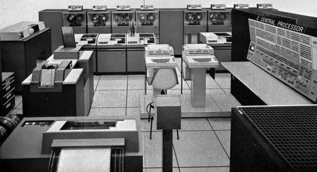 A portion of the Real Time Computer Complex located on the first floor of the Mission Control Complex in Houston. NASA used multiple IBM System/360 mainframes to power each Apollo mission on the ground, but the Apollo spacecraft didn't have nearly enough room for a mainframe on board.