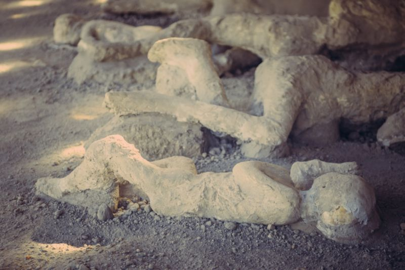 Plaster casts of victims of the eruption of Mount Vesuvius in 79 CE.