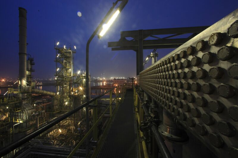 Stock photo of energy plant at night.